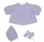"<img src=""https://p11.secure.hostingprod.com/@grammies-attic.com/ssl/images/blue-sold-1.gif""> NEW Custom Crocheted Lavender Sweater, Bonnet, and Booties Set"