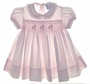 "<img src=""https://p11.secure.hostingprod.com/@grammies-attic.com/ssl/images/blue-sold-1.gif""> Carriage Boutiques Pale Pink Smocked Baby Dress with Embroidered Rocking Horses"