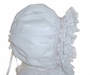 "<img src=""https://p11.secure.hostingprod.com/@grammies-attic.com/ssl/images/blue-sold-1.gif""> NEW Custom Made White Hand Smocked Baby Bonnet with French Lace Trim"