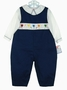 """<img src=""""https://p11.secure.hostingprod.com/@grammies-attic.com/ssl/images/blue-sold-1.gif""""> NEW Petit Ami Navy Smocked Longall Set with Birthday Embroidery"""