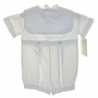 NEW Alexis White Christening Romper with Portrait Collar and Embroidered Cross