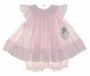 "<img src=""https://p11.secure.hostingprod.com/@grammies-attic.com/ssl/images/blue-sold-1.gif""> NEW Sarah Louise Pink Smocked Baby Dress with Tiny Bows with Pantaloons and Matching Bonnet"