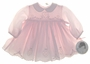 "<img src=""https://p11.secure.hostingprod.com/@grammies-attic.com/ssl/images/blue-sold-1.gif""> NEW Sarah Louise Pale Pink Baby Dress with Embroidered Hearts"