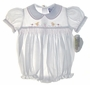 "<img src=""https://p11.secure.hostingprod.com/@grammies-attic.com/ssl/images/blue-sold-1.gif""> NEW Carriage Boutiques White Smocked Bubble and Matching Bib with Embroidered Ducks"