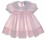 "<img src=""https://p11.secure.hostingprod.com/@grammies-attic.com/ssl/images/blue-sold-1.gif""> Carriage Boutiques Pale Pink Smocked Baby Dress with Organdy Edged Collar"