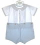 "<img src=""https://p11.secure.hostingprod.com/@grammies-attic.com/ssl/images/blue-sold-1.gif""> Feltman Brothers Blue and White Button On Shorts Set with Inverted Pleats and Embroidery"