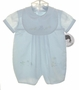 "<img src=""https://p11.secure.hostingprod.com/@grammies-attic.com/ssl/images/blue-sold-1.gif""> NEW Sarah Louise Pale Blue Baby Romper with Bear Embroidery and Matching Bib"
