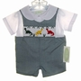 "<img src=""https://p11.secure.hostingprod.com/@grammies-attic.com/ssl/images/blue-sold-1.gif""> NEW Be Mine Green Checked Smocked Shortall Set with Embroidered Dinosaurs"