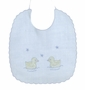 "<img src=""https://p11.secure.hostingprod.com/@grammies-attic.com/ssl/images/blue-sold-1.gif""> NEW Will'Beth Blue Linen Bib with Appliqued Ducks"