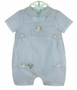 "<img src=""https://p11.secure.hostingprod.com/@grammies-attic.com/ssl/images/blue-sold-1.gif""> NEW Sarah Louise Blue Romper with Bunny and Carrots Embroidery"