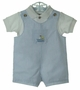 NEW Goodlad Blue Striped Shortall Set with White Knit Shirt and Embroidered Sailboat