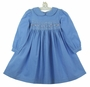 NEW Rare Editions Periwinkle Blue Smocked Corduroy Dress