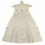 "<img src=""http://site.grammies-attic.com/images/blue-sold-1.gif""> NEW Sarah Louise White Smocked Dress with Pink and Lavender Flowers"