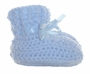 NEW Blue Crocheted Booties with Blue Ribbons