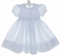 New Feltman Brothers Blue Smocked Dress with Lace Trim and Embroidered Rosebuds