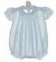 NEW Feltman Brothers Blue Smocked Romper with Lace Trimmed Collar