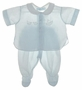 NEW Feltman Brothers Pale Blue Diaper Set with Appliqued Boats