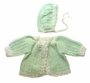 "<img src=""http://site.grammies-attic.com/images/blue-sold-1.gif""> NEW Green and White Custom Crocheted Sweater and Hat Set"