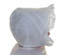 NEW Heirloom Style Cotton Christening Bonnet with Embroidered Flowers and Cluny Lace
