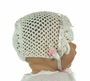 New Ivory Crocheted Bonnet with Pink Ribbon Insertion and Pink Rosebud Trim