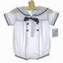 New Petit Ami White Sailor Romper with Navy Trim and Matching Hat