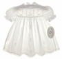 "<img src=""http://site.grammies-attic.com/images/blue-sold-1.gif""> NEW Rosalina Vintage Style Pale Ivory Embroidered Cotton Baby Dress with White Lace Trim"