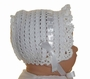 NEW White Crocheted Baby Bonnet with Small Face Ruffle Szs
