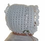 NEW White Crocheted Baby Bonnet with White Satin Ribbon Szs