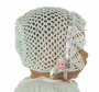 New White Crocheted Bonnet with Pink Ribbon Insertion and Pink Rosebud Trim
