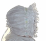 NEW White Lacy  Bonnet with Pastel Trim
