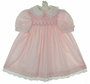 Polly Flinders Pink Smocked Dress with Lace Trimmed Collar and Cuffs