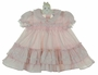 Polly Flinders Pink Striped Dress with Lace Trimmed Ruffles
