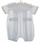 Blue Pleated Baby Romper with White Heirloom Style Lace Trimmed Collar