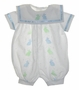 Custom Made White Eyelet Romper with Blue and Green Bunnies