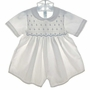 Feltman Brothers White Smocked Romper with Blue Embroidered Yoke