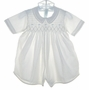 Feltman Brothers White Smocked Romper with Blue Embroidery