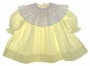Pauly Pale Yellow Bishop Smocked Baby Dress with Embroidered Eyelet Trim