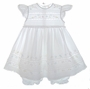 Pauly White Cotton Pinafore Style Embroidered Dress With Lace Insertion and Matching Pantaloons
