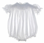 Sarah Louise White Bishop Smocked Baby Bubble with Crocheted Lace Trim