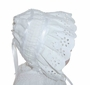 White Bonnet with Pintucks, Eyelet Embroidery, and White Satin Ribbon