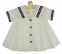 Vintage White Sailor Dress with Navy Trim and Front Buttons