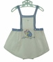 Heirloom 1930s White Sunsuit with Fagoting Blue Trim and Appliqued Mouse