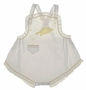 Heirloom 1940s White Sunsuit with Yellow Turtle Applique