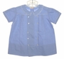 Vintage 1930s Boys Blue Day Dress with Embroidered Scalloped Collar