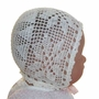 Heirloom 1930s Ivory Crocheted Baby Bonnet with Pink Ribbons Szm