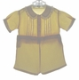Heirloom 1930s Yellow Button On Shorts Set with Lace Insertion and White Ruffled Collar