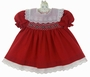 "<img src=""https://p11.secure.hostingprod.com/@grammies-attic.com/ssl/images/blue-sold-1.gif""> NEW Polly Flinders Dark Red Smocked Baby Dress and Matching Diaper Cover with White Eyelet Portrait Collar and Eyelet Trimmed Hem"