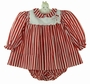 "<img src=""https://p11.secure.hostingprod.com/@grammies-attic.com/ssl/images/blue-sold-1.gif""> NEW Polly Flinders Red Striped Baby Dress with White Gingerbread Embroidered Portrait Collar"