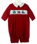 NEW Carriage Boutiques Red Corduroy Smocked Romper with Holiday Embroidery