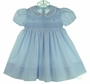 NEW Feltman Brothers Blue Smocked Dress with Embroidered Flowers and Lace Trim